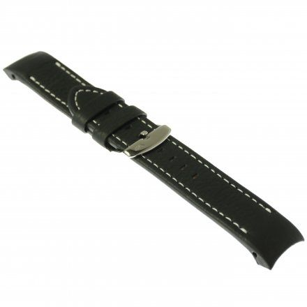 Pasek do zegarka Vostok Europe Pasek Anchar - Skóra (A584) czarny z białym przeszyciem błyszczącą klamrą