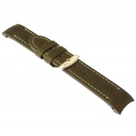 Pasek do zegarka Vostok Europe Pasek Anchar - Skóra (O585) brązowy z białym przeszyciem różową klamrą
