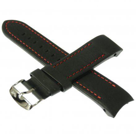 Pasek do zegarka Vostok EuropePasek Anchar - Skóra (A587) czarny z czerwonym przeszyciem błyszcząca klamrą