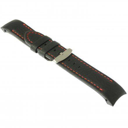 Pasek do zegarka Vostok Europe Pasek Anchar - Skóra (7171) czarny z czerwonym przeszyciem matową klamrą