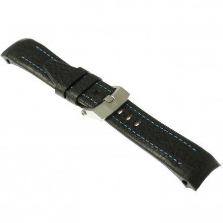 Pasek do zegarka Vostok Europe Pasek Lunokhod - Skóra (5213) czarny z niebieskim przeszyciem matowa klamra