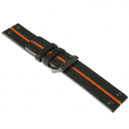 Pasek do zegarka Vostok Europe Pasek Expedition - Skóra (4197) czarny z pomarańczowym środkiem czarna klamra