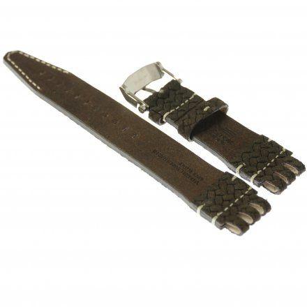 Pasek do zegarka Vostok Europe Pasek Energia 3 XL - Skóra (A539) brązowy pleciony błyszcząca klamra