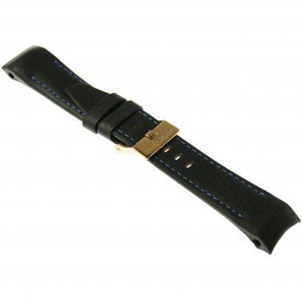 Pasek do zegarka Vostok Europe Pasek Mriya II - Skóra (9232) czarny z niebieskim przeszyciem różowa klamra