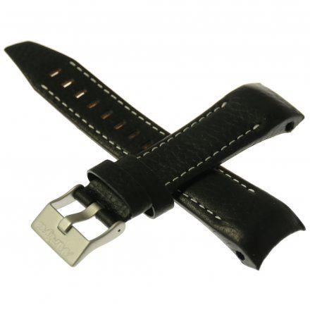 Pasek do zegarka Vostok Europe Pasek Mriya II - Skóra (5233) czarny z białym przeszyciem matowa klamra