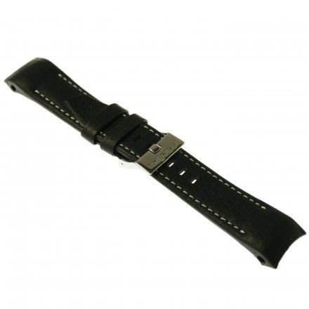 Pasek do zegarka Vostok Europe Pasek Mriya II - Skóra (5237) czarny z białym przeszyciem błyszcząca klamra