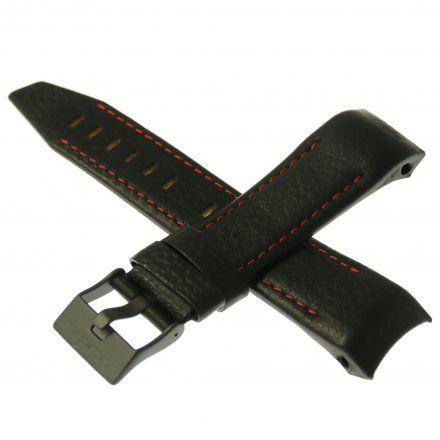 Pasek do zegarka Vostok Europe Pasek Mriya II - Skóra (4238) czarny z czerwonym przeszyciem czarna klamra