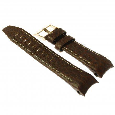 Pasek do zegarka Vostok Europe Pasek Mriya II - Skóra (9232) brązowy z białym przeszyciem różowa klamra