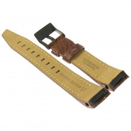 Pasek do zegarka Vostok Europe Pasek Mriya II - Skóra (4234) brązowy z białym przeszyciem czarna klamra