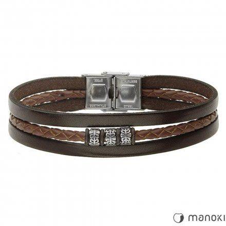 Biżuteria Manoki Skórzana bransoletka męska BA655A