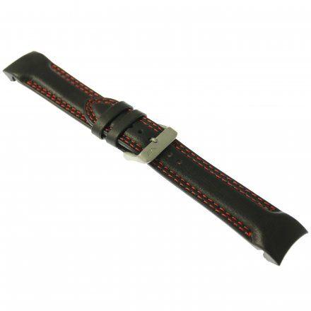 Pasek do zegarka Vostok Europe Pasek Rocket N1 - Skóra (5149) czarny z czerwonym przeszyciem matowa klamra
