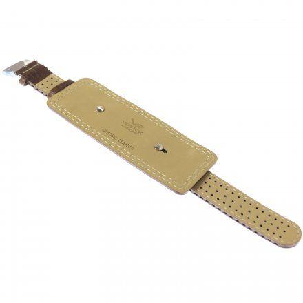 Pasek do zegarka Vostok Europe Pasek z podkładką VE - 20 mm brązowy z białym przeszyciem
