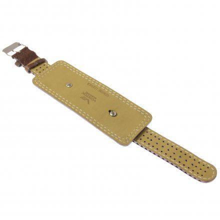 Pasek do zegarka Vostok Europe Pasek z podkładką VE - 20 mm brązowy z brązowym przeszyciem