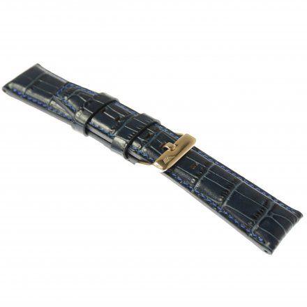 Pasek do zegarka Vostok Europe Pasek Gaz-14 - Skóra 565 (B596) niebieski croco różowa klamra
