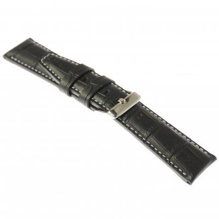 Pasek do zegarka Vostok Europe Pasek Gaz-14 - Skóra 565 (A598) czarny croco z białym p. błyszcząca klamra
