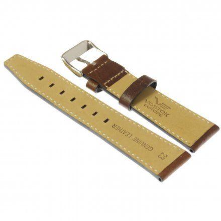 Pasek do zegarka Vostok Europe Pasek Gaz-14 - Skóra 565 (E593) brązowy gładki z białym przeszyciem błyszcząca klamra