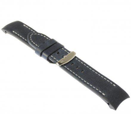 Pasek do zegarka Vostok Europe Pasek Anchar - Skóra (A583) niebieski z białym przeszyciem  błyszcząca klamra