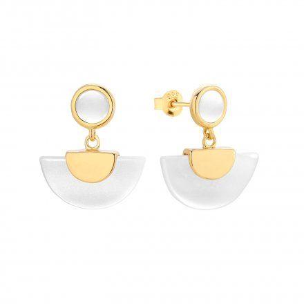 Kolczyki srebrne pozłacane z masą perłową Biżuteria Ditta Zimmermann DZK382/MPB/Z