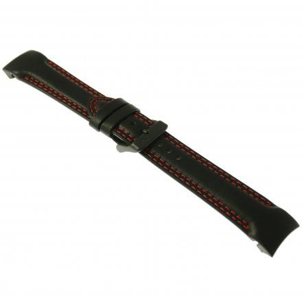 Pasek do zegarka Vostok Europe Pasek Rocket N1 - Skóra (4150) czarny z czerwonym przeszyciem czarna klamra