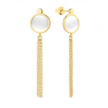 Kolczyki srebrne pozłacane z masą perłową Biżuteria Ditta Zimmermann DZK380/MPB/Z