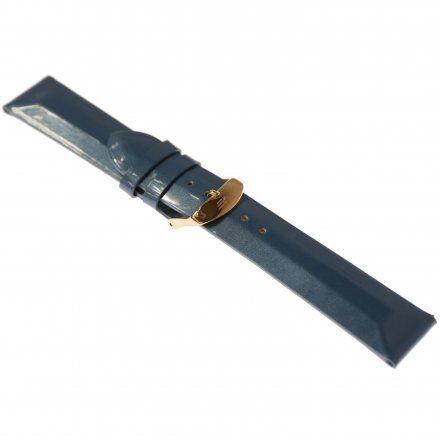 Pasek do zegarka Vostok Europe Pasek Undine - Skóra (B527) niebieski gładki różowa klamra