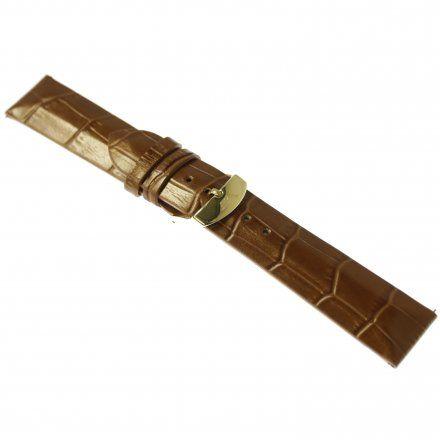 Pasek do zegarka Vostok Europe Pasek Undine - Skóra (B569) brązowy croco żółta klamra