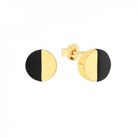 Kolczyki srebrne pozłacane z onyksem Biżuteria Ditta Zimmermann DZK250/ONX/Z