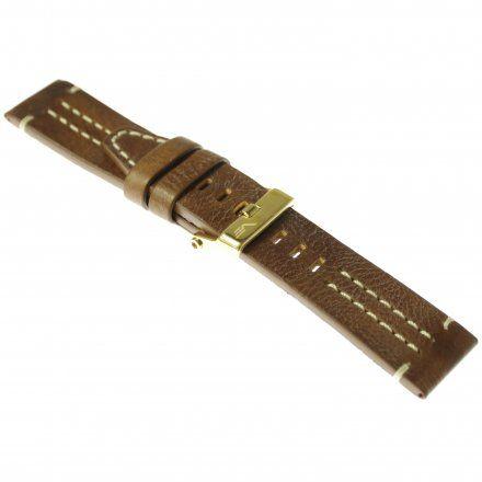 Pasek do zegarka Vostok Europe Pasek Ekranoplan 2 - Skóra (H515) brązowy z białym przeszyciem złota klamra