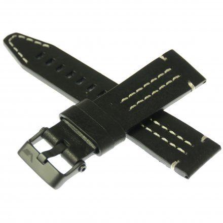 Pasek do zegarka Vostok Europe Pasek Ekranoplan 2 - Skóra (C512) czarny z białym przeszyciem czarna klamra