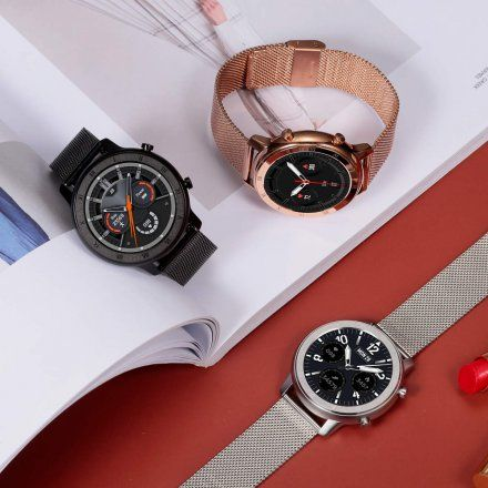 Smartwatch Pacific 17-3 Srebrny z bransoletką + Czarny pasek