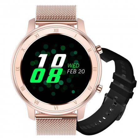 Smartwatch Pacific 17-7 Różowozłoty z bransoletką + Czarny pasek