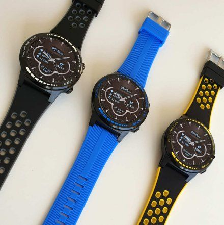 Sportowy Smartwatch Pacific 12-2 Żółty Rozmowy GPS Puls Kompas Kroki