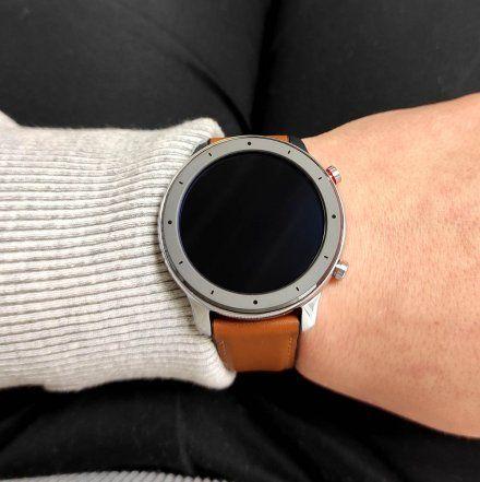 Amazfit GTR stalowy z brązowym paskiem smartwatch Huami W1902TY2N