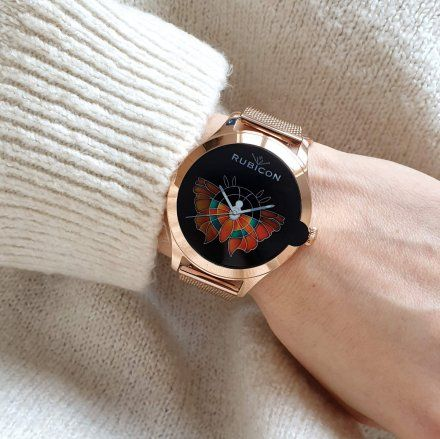 Różowozłoty smartwatch damski Rubicon RNBE62RIBX05AX
