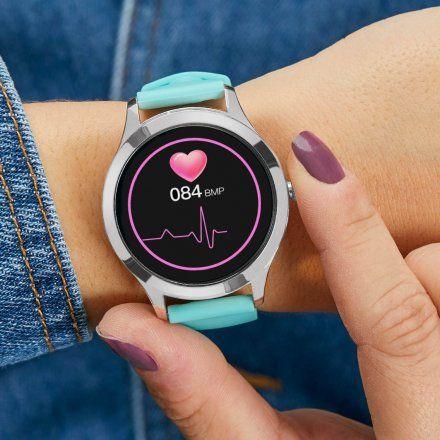 Srebrny Smartwatch Marea B59005-4 bransoletka + fioletowy pasek