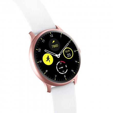 Różowozłoty smartwatch Gino Rossi + biały pasek G.RSWSF1-4C2-1