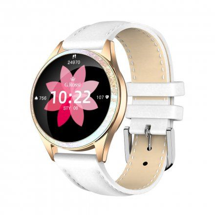 Złoty smartwatch damski Gino Rossi + biały pasek GRSWBF2-4D1-1