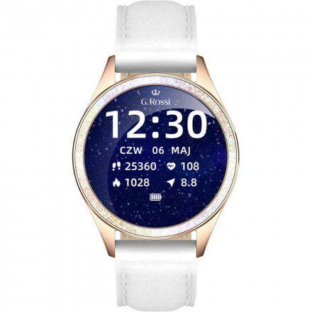 Złoty smartwatch damski G.Rossi + biały pasek GRSWBF2-4D1-1
