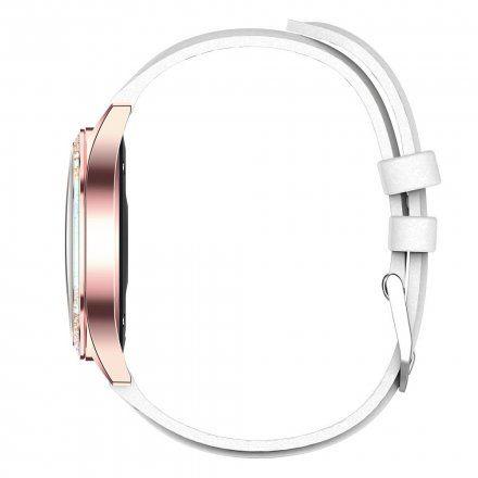 Różowozłoty smartwatch damski Gino Rossi + biały pasek GRSWBF2-4D2-1