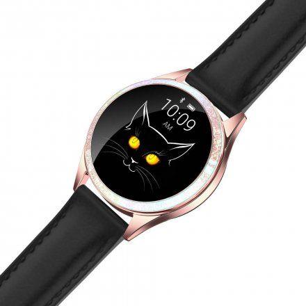 Różowozłoty smartwatch damski G.Rossi + czarny pasek GRSWBF2-4D2-2