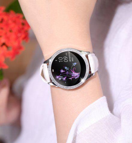 Srebrny smartwatch damski G.Rossi + biały pasek GRSWBF2-3C1-1