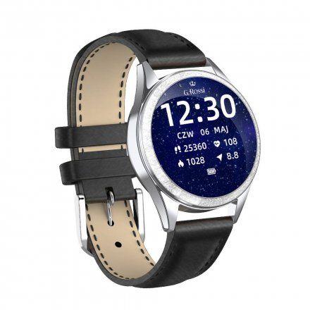 Srebrny smartwatch damski G.Rossi + czarny pasek GRSWBF2-3C1-2
