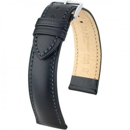Czarny pasek skórzany 20 mm HIRSCH Kent 01002050-2-22 (L)