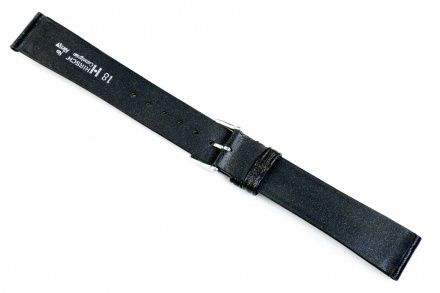 Czarny pasek skórzany 16 mm HIRSCH Camelgrain 001009150-1-16 (M)