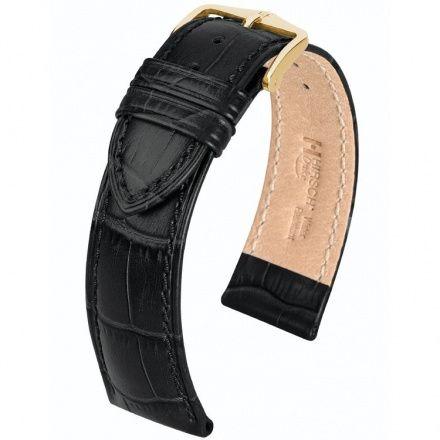 Czarny pasek skórzany 17 mm HIRSCH Duke 01028050-1-17 (L)