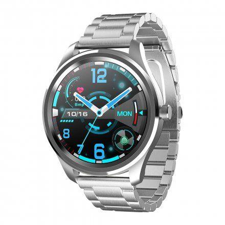 Srebrny smartwatch Gino Rossi + czarny pasek SW012-2
