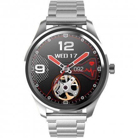 Srebrny smartwatch Gino Rossi + szary pasek SW012-3