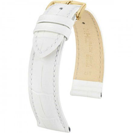 Biały pasek skórzany 16 mm HIRSCH Duke 01028101-1-16 (M)