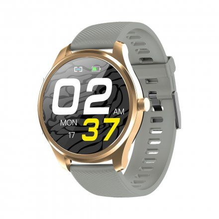 Różowozłoty smartwatch Gino Rossi + szary pasek SW012-5