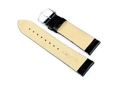 Czarny pasek skórzany 24 mm HIRSCH Duke 01028250-2-24 (XL)